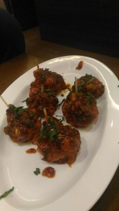 Gobi lolipop at cafe, Valencia, Mangalore