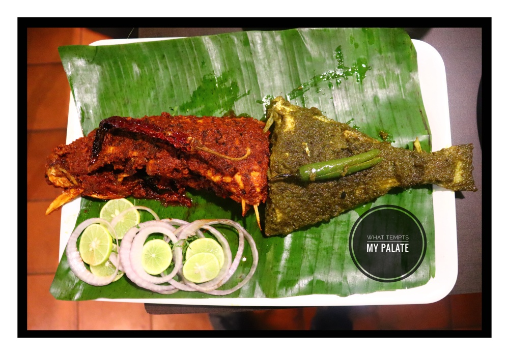 Bat Fish Tawa Fried + Green Masala fry at Fish Garage, Chillimbi, Urwa, Mangalore.