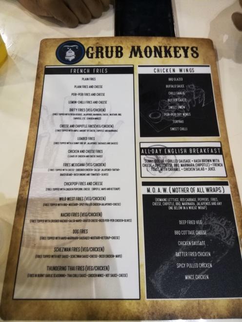 Grub Monkeys Menu, Deralakatte , Mangalore - What tempts my Palate